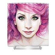 Girl with Magenta Hair Shower Curtain by Olga Shvartsur