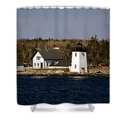 Grindel Point Lighthouse  Shower Curtain by Skip Willits