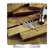 Hammer And Nails Shower Curtain by Les Cunliffe