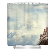 Hands in sky Shower Curtain by Les Cunliffe