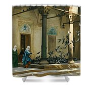 Harem Women Feeding Pigeons In A Courtyard Shower Curtain by Jean Leon Gerome