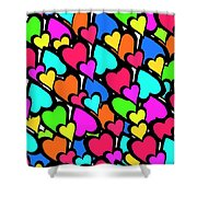 Hearts Shower Curtain by Louisa Knight