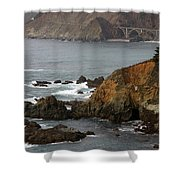 Highway One Bixby Bridge Watercolor Shower Curtain by Barbara Snyder