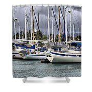 In The Harbor Shower Curtain by Cheryl Young