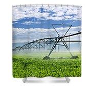 Irrigation Equipment On Farm Field Shower Curtain by Elena Elisseeva
