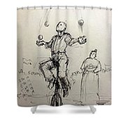 Juggler Shower Curtain by H James Hoff