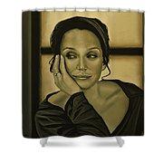 Kristin Scott Thomas Shower Curtain by Paul Meijering