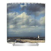 Lighthouse At Whitehaven Shower Curtain by Amanda And Christopher Elwell