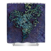 Mechanical - Heart Shower Curtain by Fran Riley