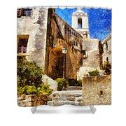 Mediterranean Steps Shower Curtain by Pixel Chimp