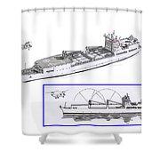 Merchant Marine Conceptual Drawing Shower Curtain by Jack Pumphrey