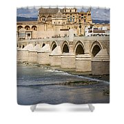 Mezquita And Roman Bridge In Cordoba Shower Curtain by Artur Bogacki