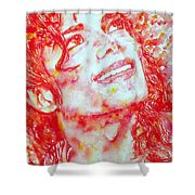 Michael Jackson - Watercolor Portrait.2 Shower Curtain by Fabrizio Cassetta