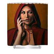 Monica Bellucci Shower Curtain by Paul Meijering