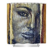 Mysterious Girl Face Portrait - Painting On The Wood Shower Curtain by Nenad Cerovic