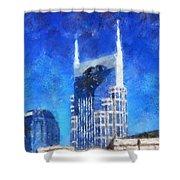 Nashville Skyline Shower Curtain by Dan Sproul