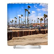 Newport Beach Dory Fishing Fleet Market Shower Curtain by Paul Velgos