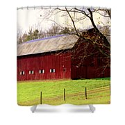 Old Red Shower Curtain by Karen Wiles