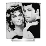 Olivia Newton John And John Travolta In Grease Collage Shower Curtain by Tony Rubino
