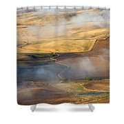 Patterns Of The Land Shower Curtain by Mike  Dawson