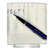 Pen Help Shower Curtain by Henrik Lehnerer