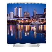 Peoria Illinois Skyline At Night Shower Curtain by Paul Velgos