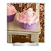 Pink Cupcakes Shower Curtain by Edward Fielding