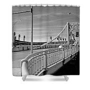 Pittsburgh - Roberto Clemente Bridge Shower Curtain by Frank Romeo