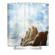 Prayer Shower Curtain by Les Cunliffe
