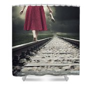 Railway Tracks Shower Curtain by Joana Kruse