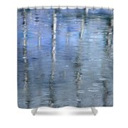 Raindrops on Reflections Shower Curtain by KM Corcoran