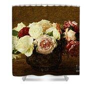 Roses Shower Curtain by Ignace Henri Jean Fantin-Latour