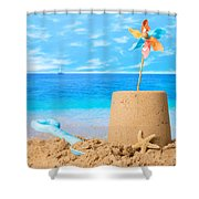 Sandcastle On Beach Shower Curtain by Amanda And Christopher Elwell
