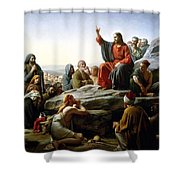 Sermon On The Mount Shower Curtain by Carl Bloch