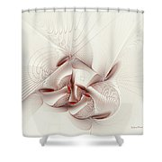 Silver and Red Shower Curtain by Deborah Benoit