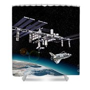 Space Station In Orbit Around Earth Shower Curtain by Leonello Calvetti