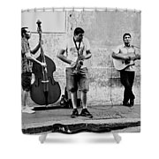 Street Musicians Of Rome Shower Curtain by Mountain Dreams