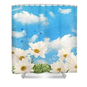 Summer Daisies Shower Curtain by Amanda And Christopher Elwell