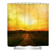 Sunset Road Shower Curtain by Brett Pfister