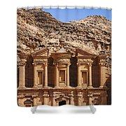 The Monastery At Petra In Jordan Shower Curtain by Robert Preston