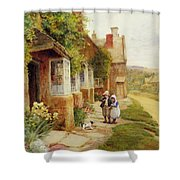 The Puppy Shower Curtain by Arthur Claude Strachan