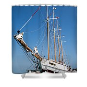 The Tall Ship Windy Shower Curtain by Dale Kincaid