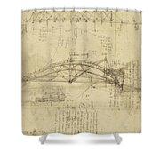 Three Kinds Of Movable Bridge Shower Curtain by Leonardo Da Vinci