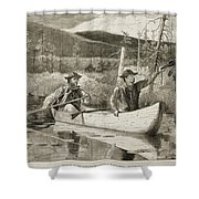 Trapping in the Adirondacks Shower Curtain by Winslow Homer