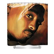 Tupac Shakur Shower Curtain by Sheraz A
