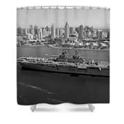 USS Boxer in San Diego  Shower Curtain by Mountain Dreams