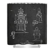 Vintage Toy Robot Patent Drawing From 1955 Shower Curtain by Aged Pixel