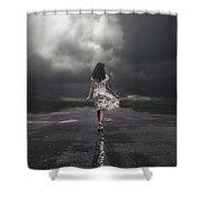 Walking On The Street Shower Curtain by Joana Kruse