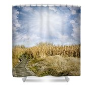 Wetland Walk Shower Curtain by Les Cunliffe