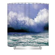 Wild Waves in Cornwall Shower Curtain by Terri  Waters